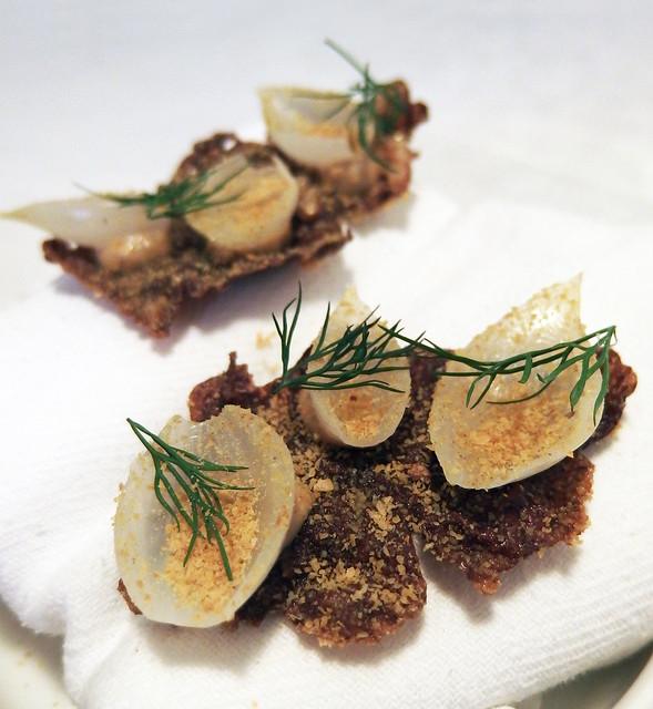 Porcini Krupuk with pickled shallot