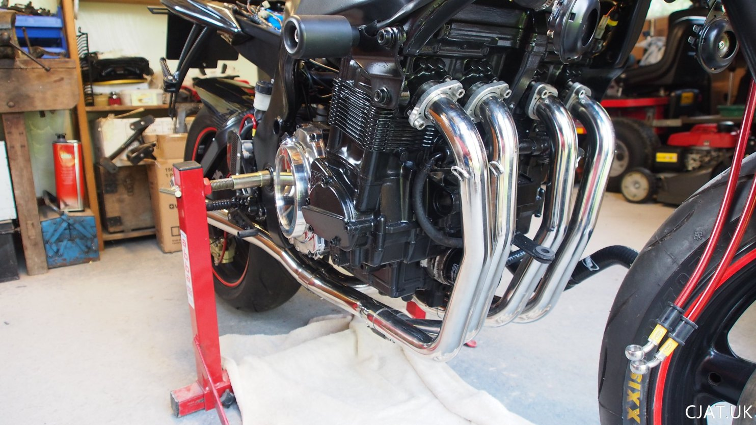 Suzuki RF900 StreetFighter polished stainless steel exhaust headers from akrapovic