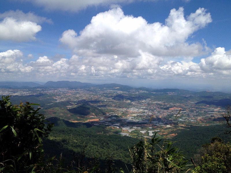 view to da lat valley from the top of lang biang mountain