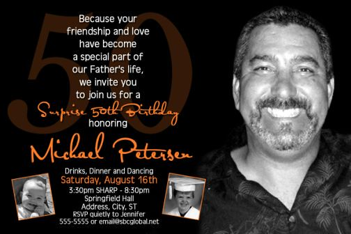 Mens Surprise 50th Birthday Invitation Masculine With Pho