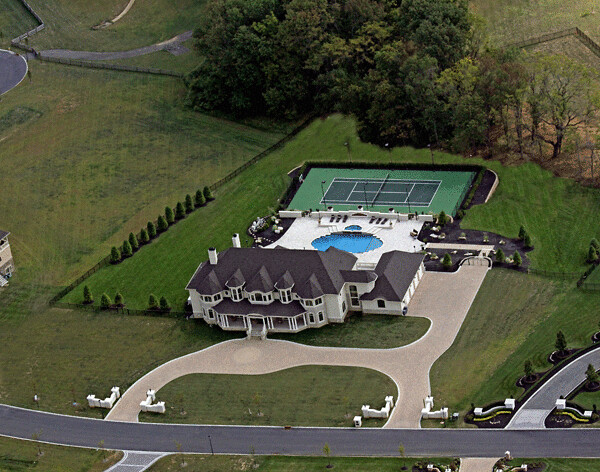 Aerial Backyard Tennis Court Design And Pool Photo Flickr