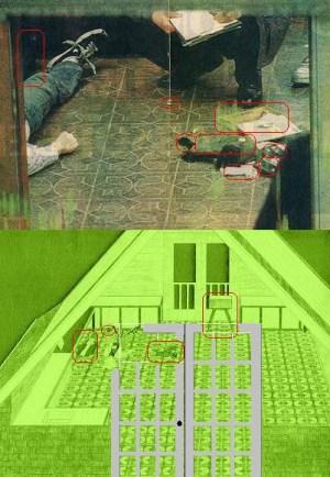 cobain greenhouse crime scene with green diagram below