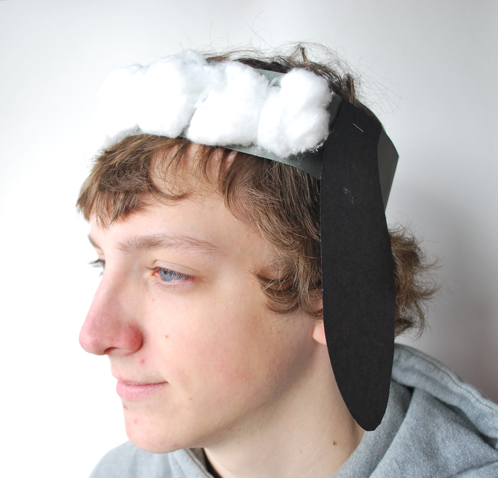 Sheep Hat Construction Paper Strip And Ears Cotton