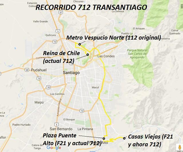 Recorrido 712 Transantiago