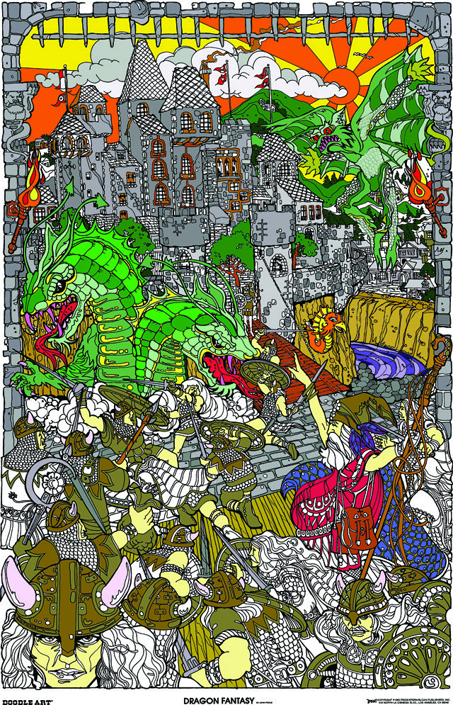 Doodle Art Dragon Fantasy Coloring Page Poster This
