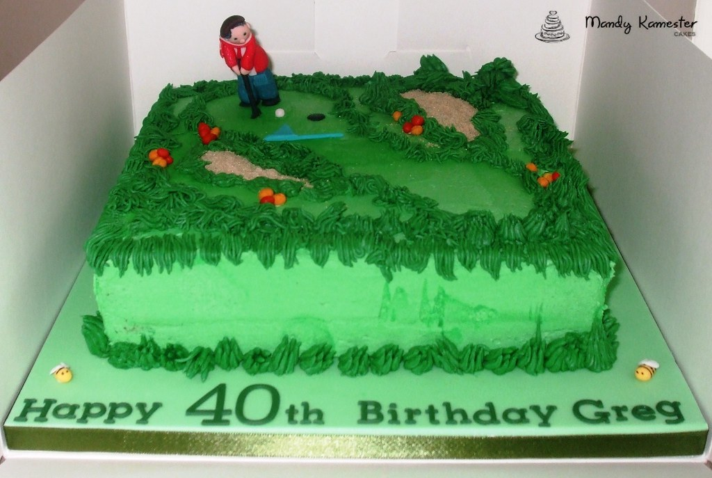 Golf Course Cake Vanilla Sponge Smothered In Green