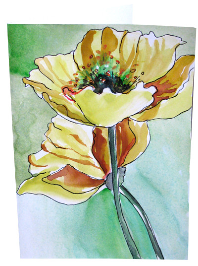 Hand Painted Poppy Watercolor Greeting Cards Flower Note C