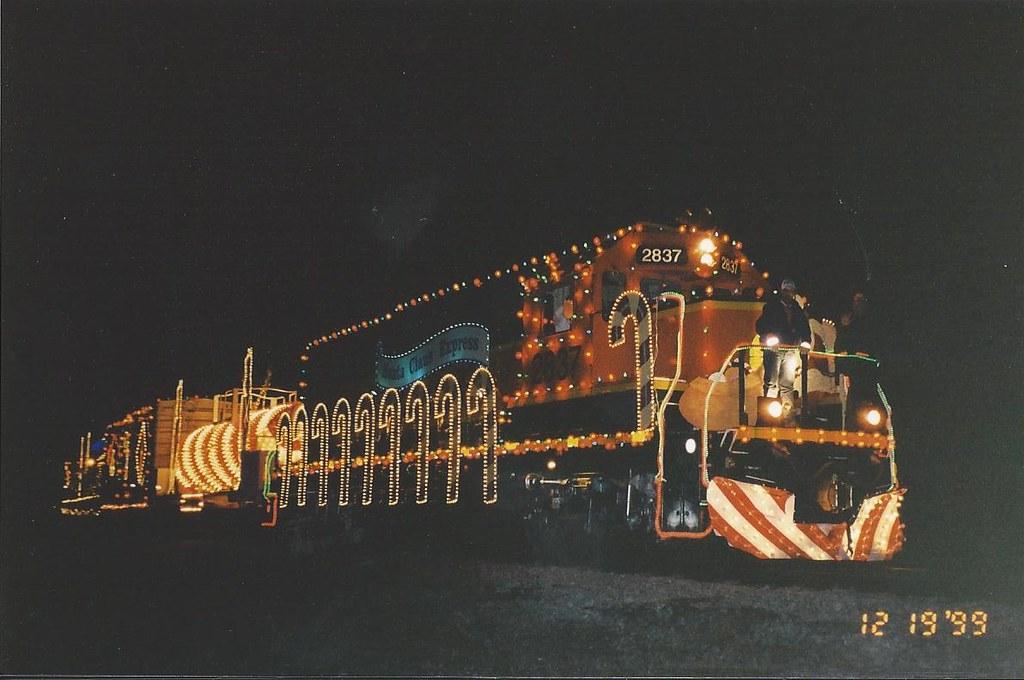 BNSF Santa Claus Express In Springfield Missouri At Night