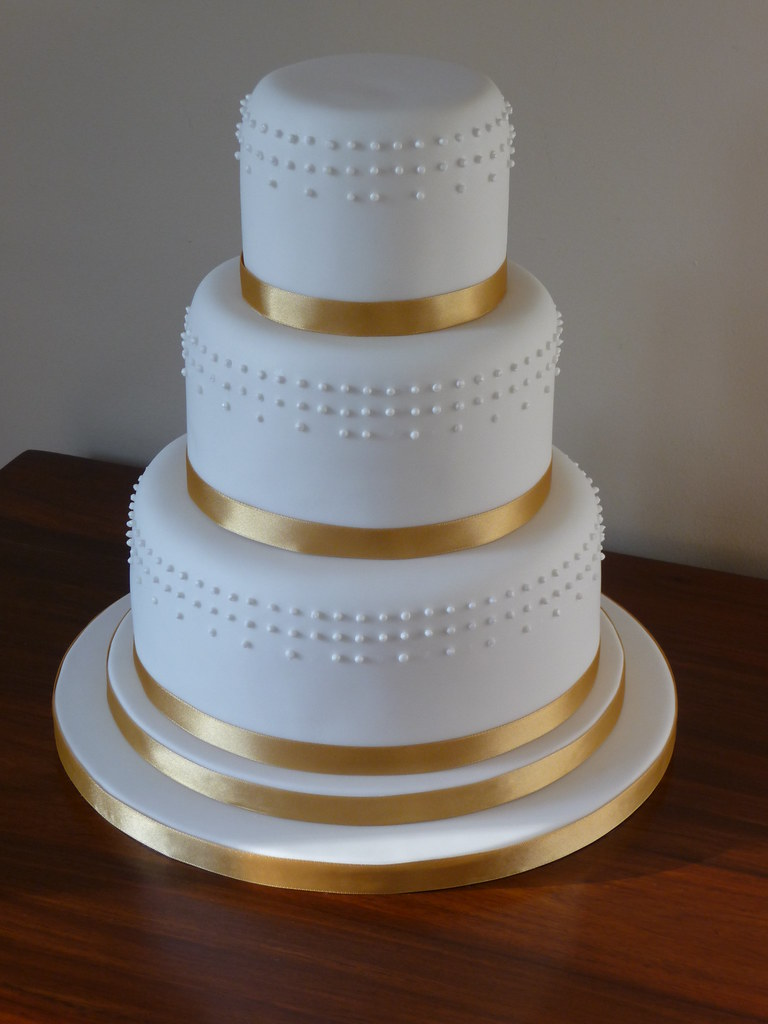 Dots And Gold Ribbon Wedding Cake This Is My Second