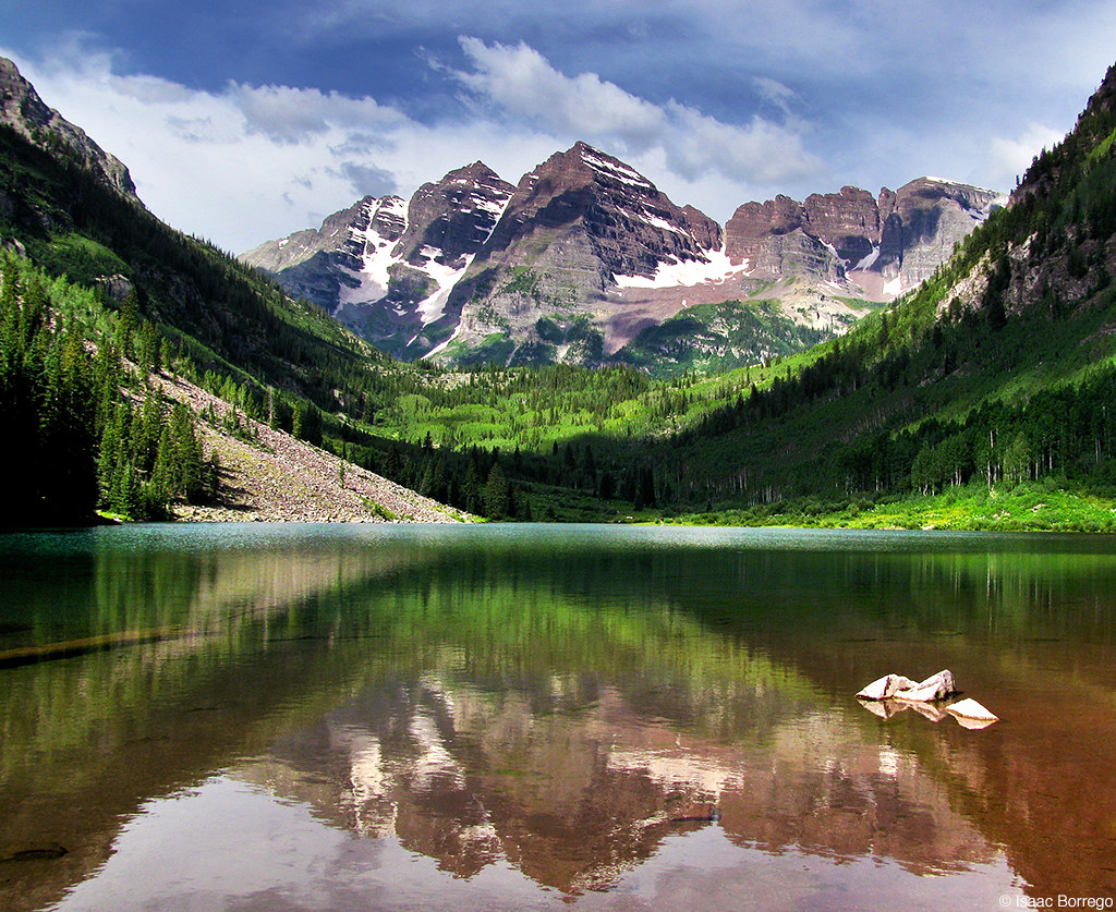 Maroon Lake Reflection Elk Mountains Aspen Colorado