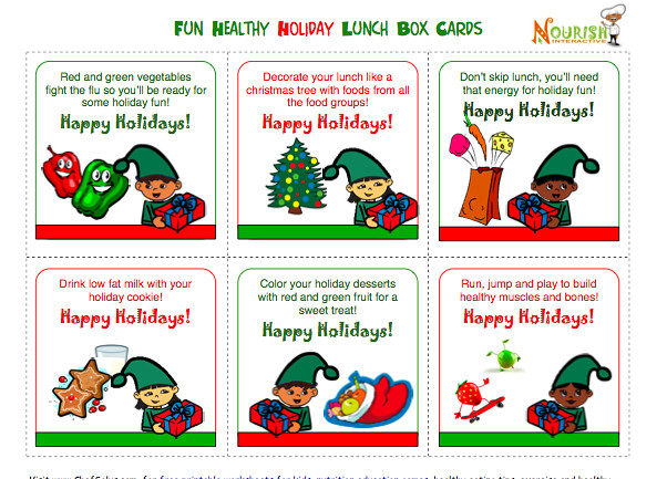 Holiday Kids Lunch Notes Healthy Message Cards For Lunchbo