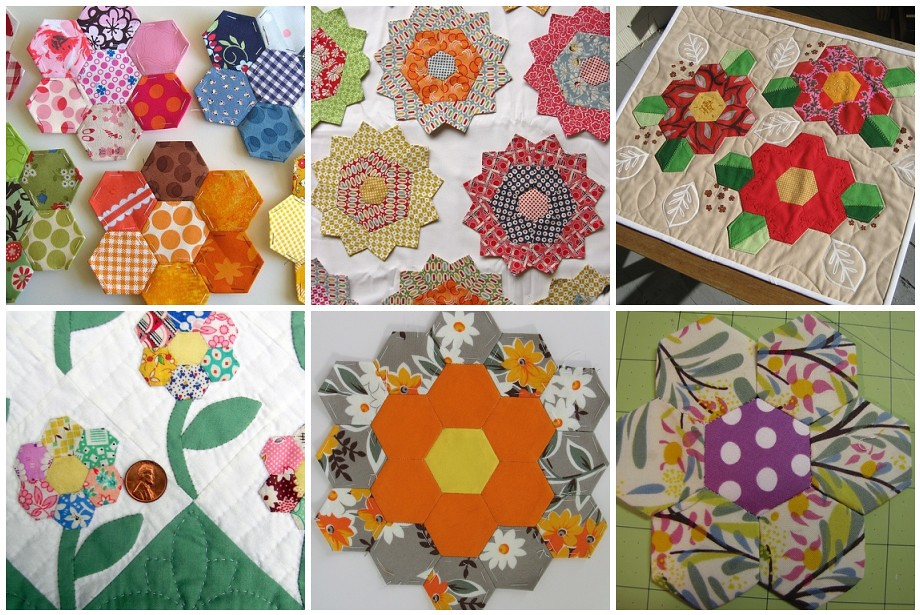 Hexagon Flowers 1 Charm Quilt Flowers 2 PP Flowers On