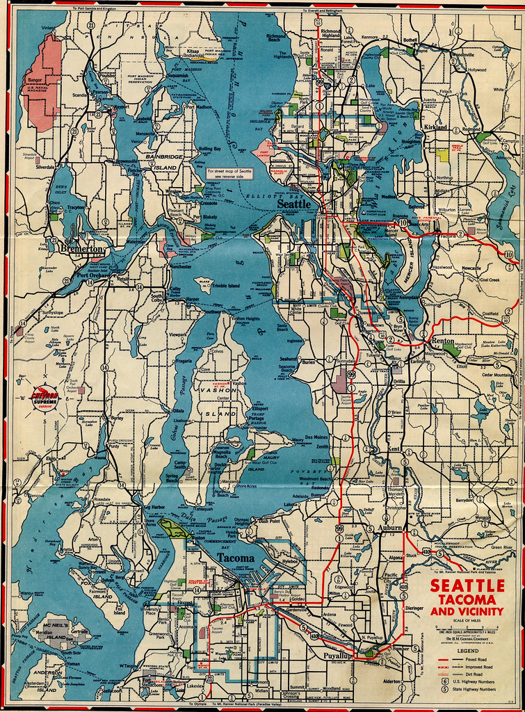 Puget Sound Road Map 1947 Gas Station Road Map From