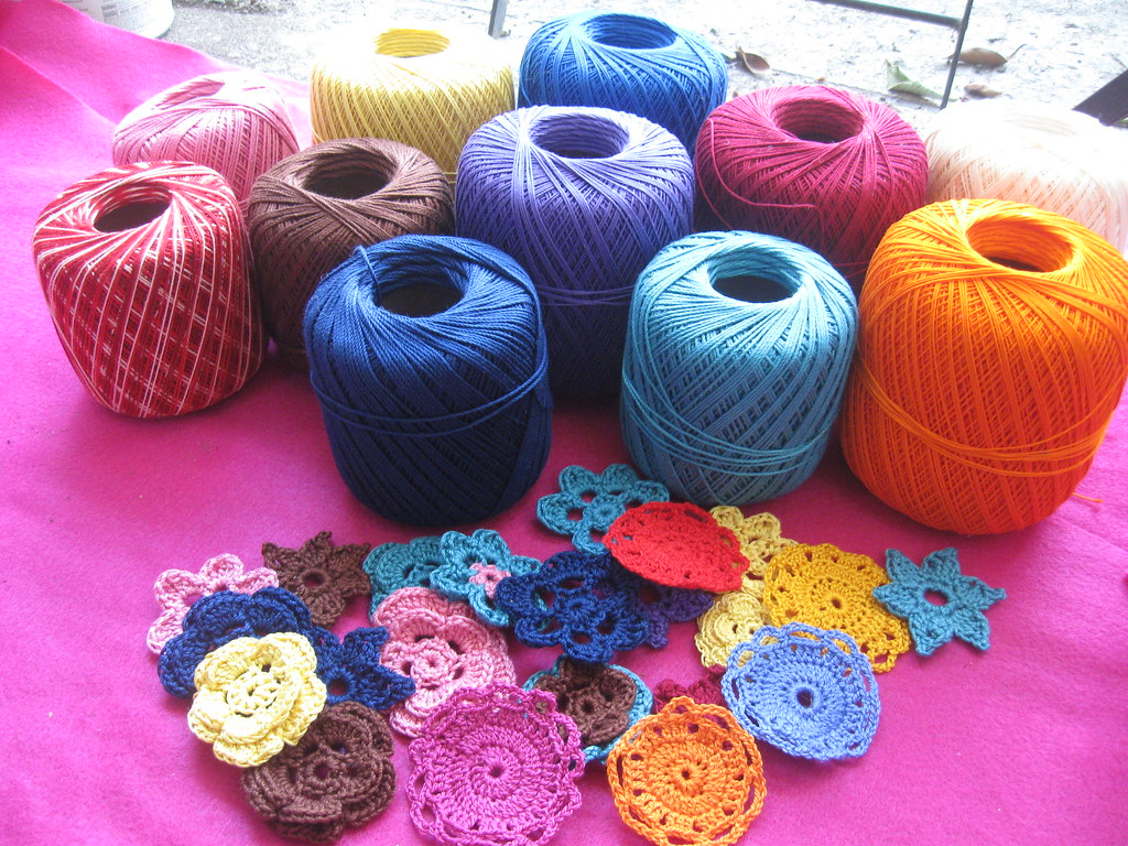 Colorful Crochet Thread I Made Some Flowers For The