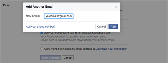 how to change Facebook primary email step 4