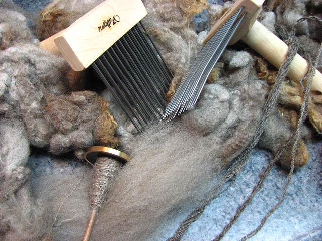 Working on Samples of Corrie Friesian Fleece