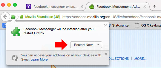 Add FB Messenger to Firefox Step 3