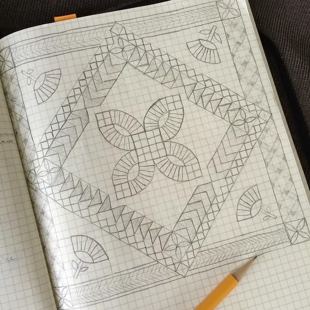 Wedding bouquet quilt sketch