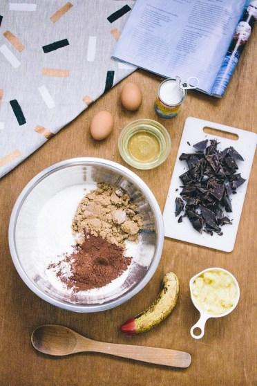 Chocolate, Banana, and Coconut muffins