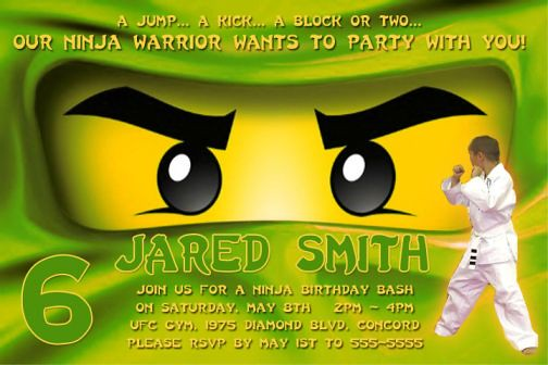 NINJAGO Green Ninja Birthday Party Invitations