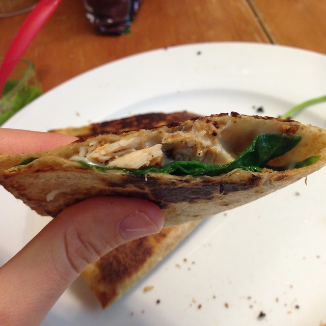 chicken, cheese, and spinach quesadilla