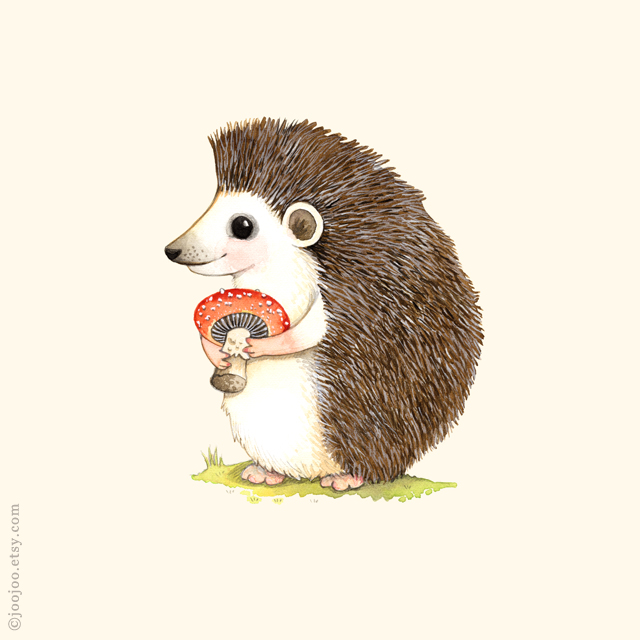 Hedgehog Watercolor Painting Watercolor And Acrylic Ink