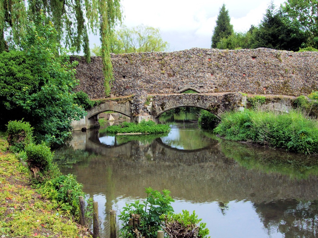 Medieval Bridge Over The River Lark Abbey Gardens Bury