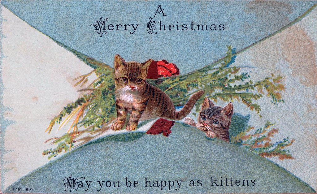 A Merry Christmas - May you be as happy as kittens - Victorian Christmas Card - Nova Scotia Archives