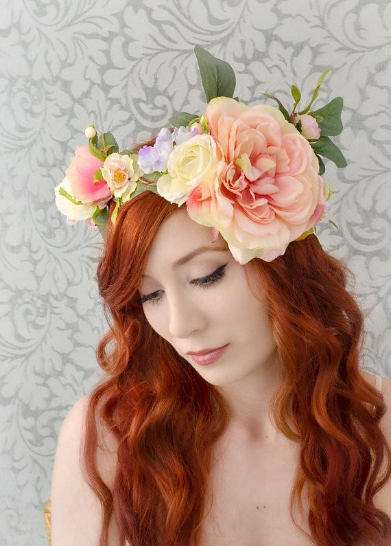 Boho Flower Crown Wedding Head Piece Bridal Hair Accesso