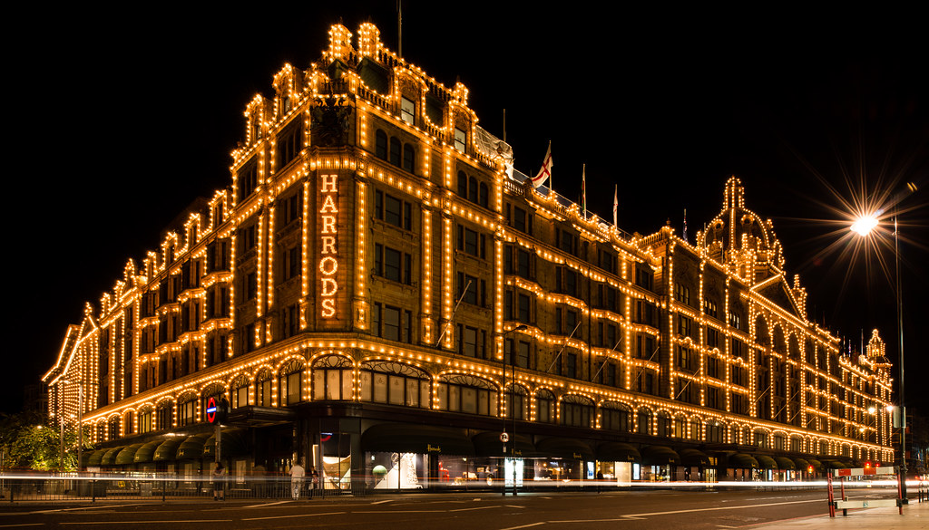 Harrods Light Show London At Night 2 Shot Stitched Pano