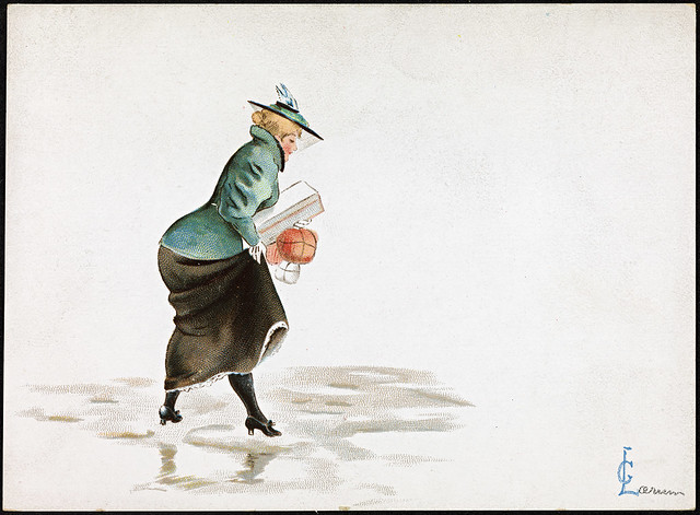 Woman with Christmas packages on slippery ice, 1897