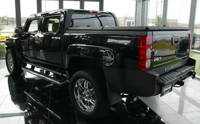 Hummer H3t With Black Aluminum Tonneau Cover A Black