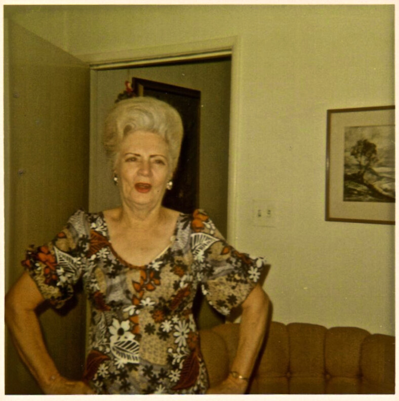 Vintage Photo 1960s Grandma With Bouffant Hair And Painted