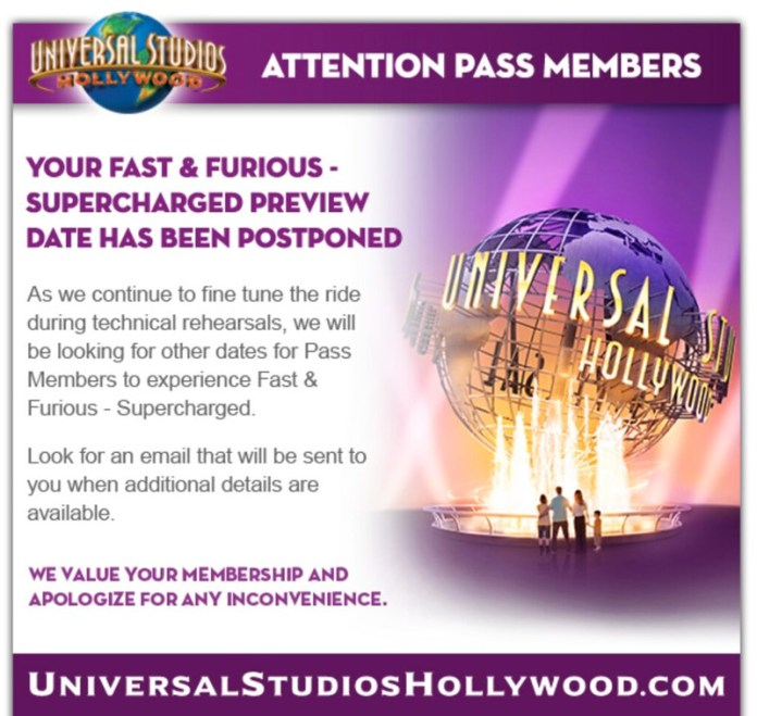 Fast & Furious: Supercharged Pass Previews Postponed