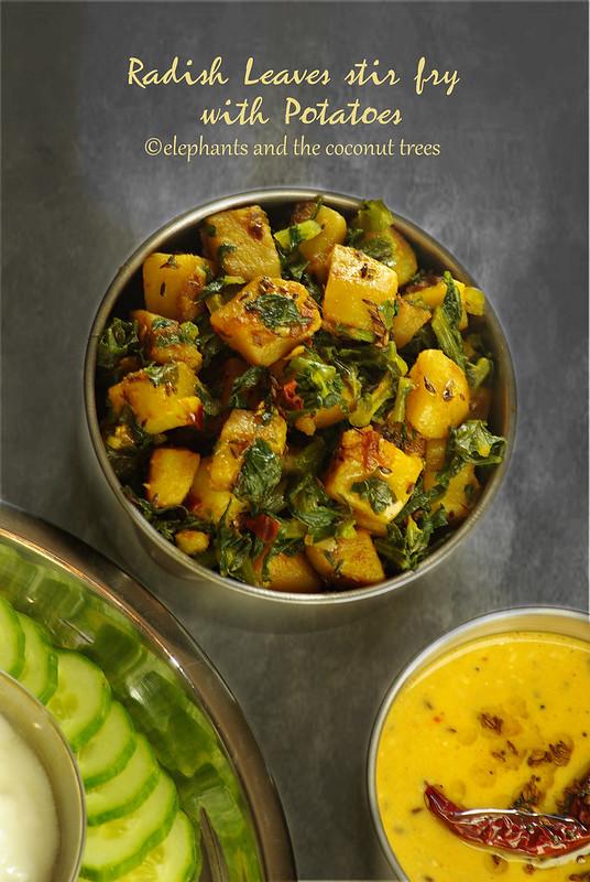 Radish leaves Stir fry with Potatoes | Mooli ke patte ki sabzi