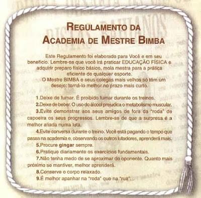 Regulamento da Academia de Mestre Bimba