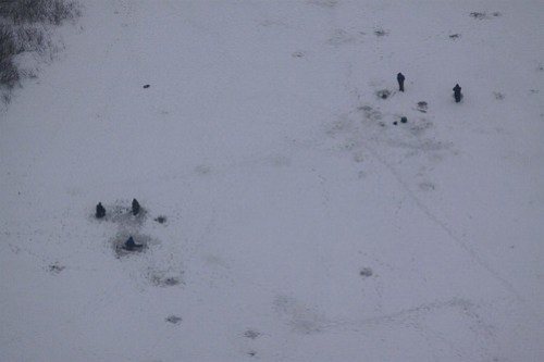 Looking down on ice fishermen on the Volga River
