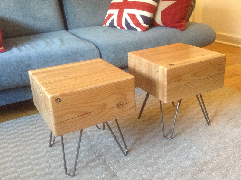 Finished coffee tables from recycled wood!