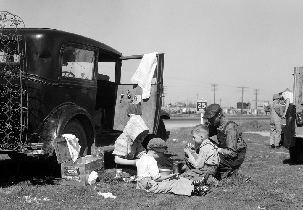 Lange, Dorothea, photographer. Oklahomans bound for Oregon along a highway in California. Feb, 1937