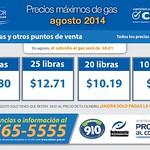 Precios maximos de GAS agosto 2014