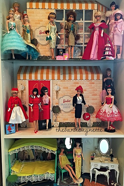 Display shelf in my doll room featuring a few of a my favorite repros along with the Vintage Fashion Shop