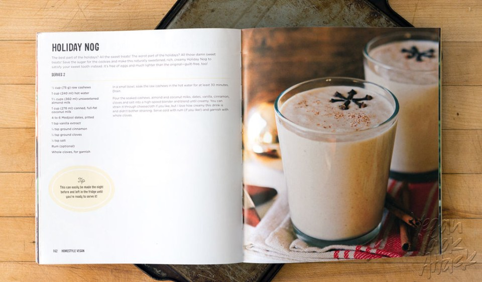 Creamy and delectable, it's everyone's favorite seasonal drink: Holiday Nog, gone vegan! Plus, a cookbook giveaway! #vegan #glutenfree #soyfree #sugarfree @FettleVegan