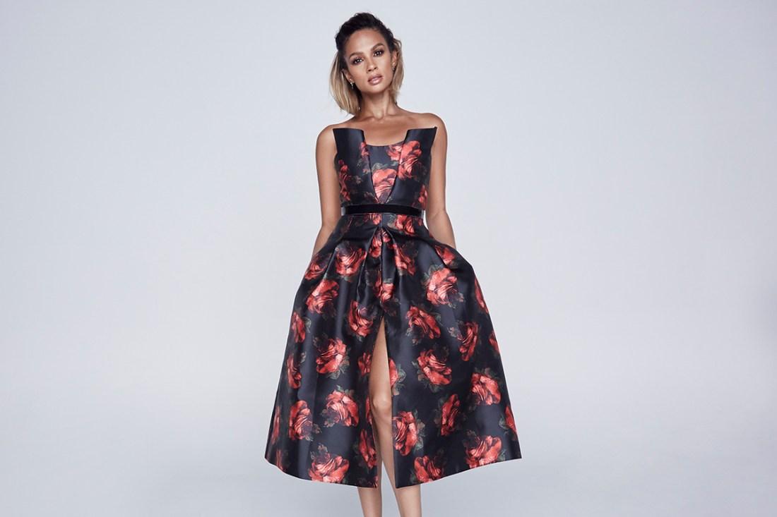 Alesha_Dixon_Dark_Floral_Bandeau_Dress_£179_LittleBlackDress.co.uk-1