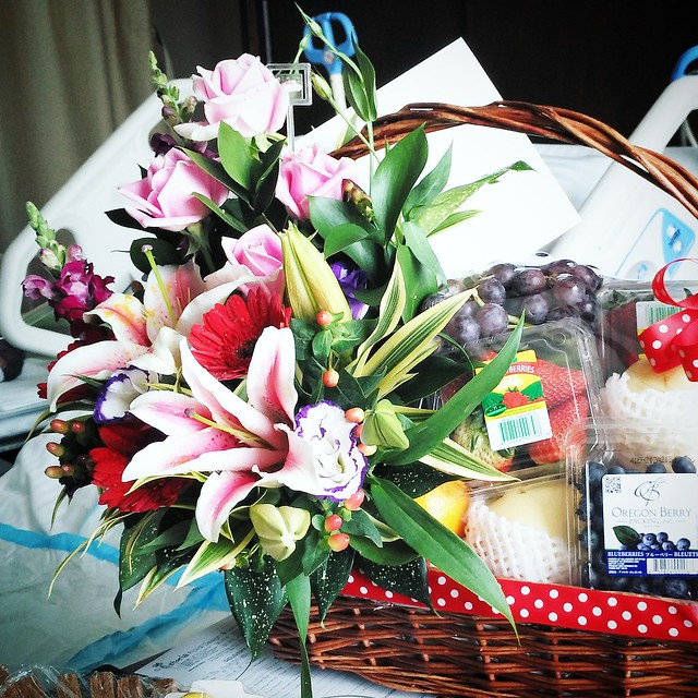 Thoughtful fruit and flower basket from the hospital :)
