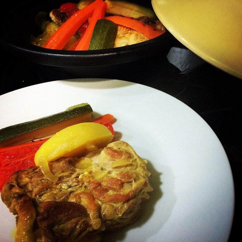 Tagine de pollo con ras al hanut
