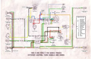 65 F100 thru F750 exterior wiring diagram  Ford Truck