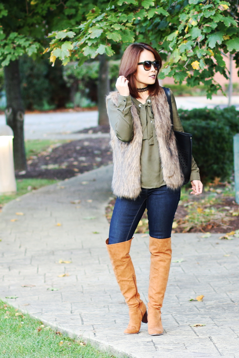 Zaful-olive-green-lace-up-top-otk-boots-faux-fur-vest-1