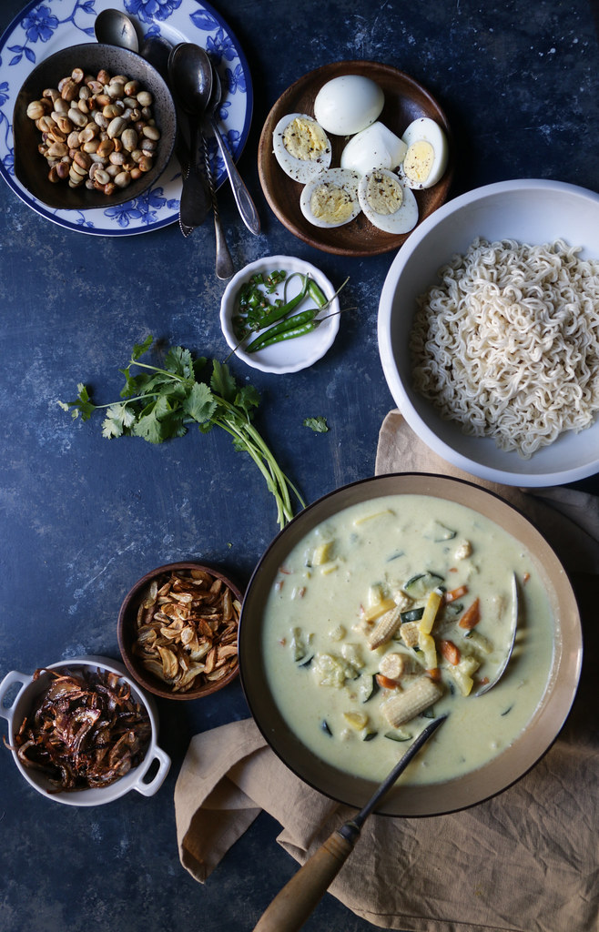 Vegetarian Khow Suey- Lightly Spiced Coconut Milk Curry with noodles and Condiments