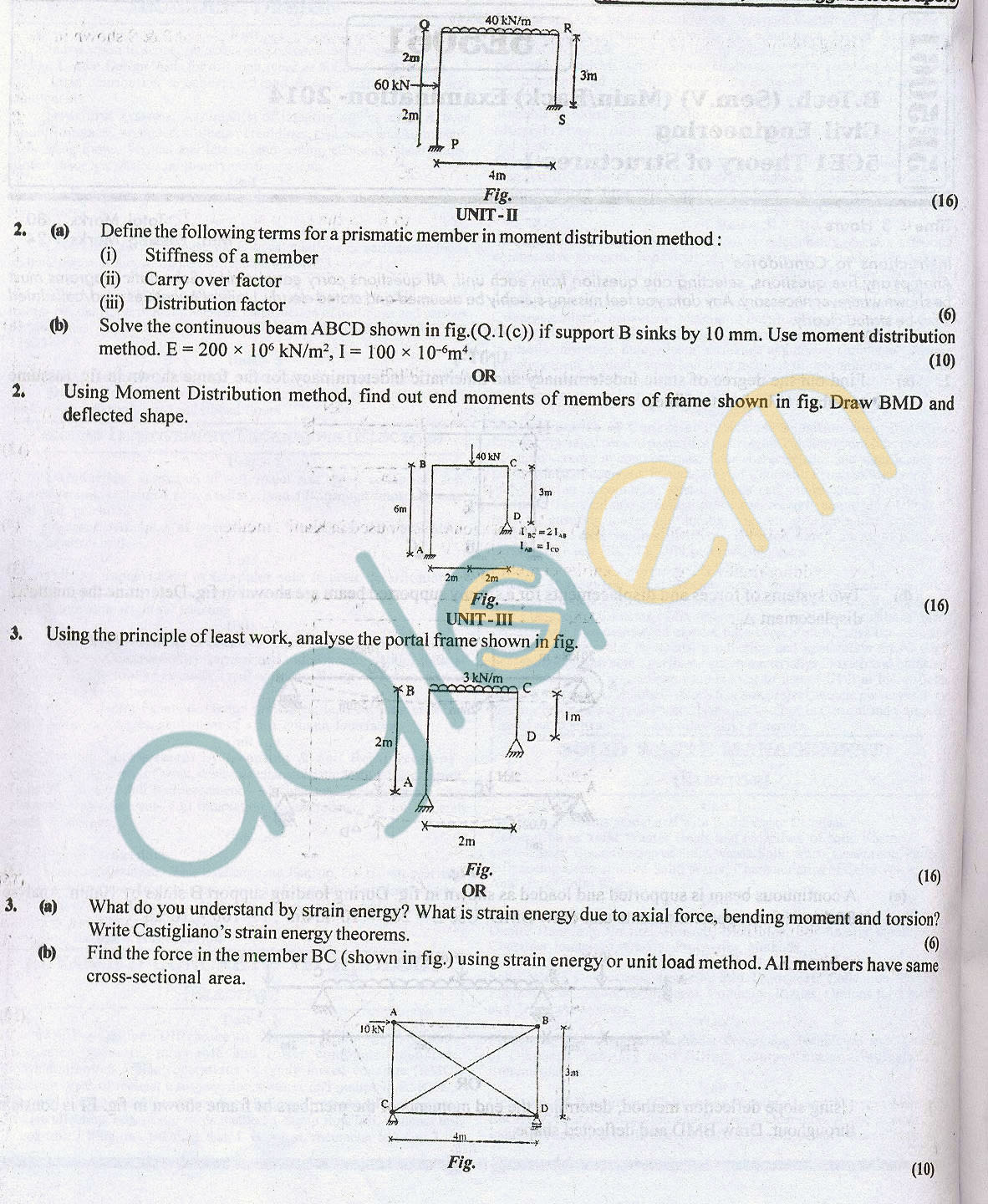 Rtu Question Papers 5 Semester Ce Theory Of Structure I