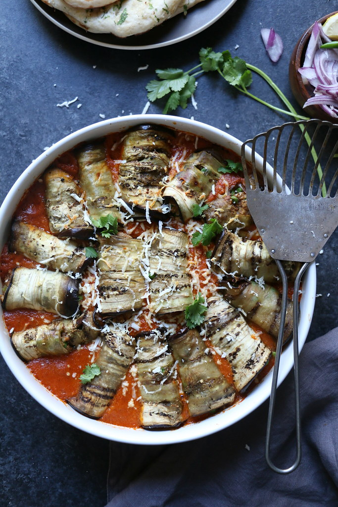 Stuffed Eggplants Rolls in a mild Tomato-Almond Curry @foodfashionparty